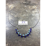 Light blue and dark blue wire wrapping Sterling silver necklace - Luzjewelrydesign