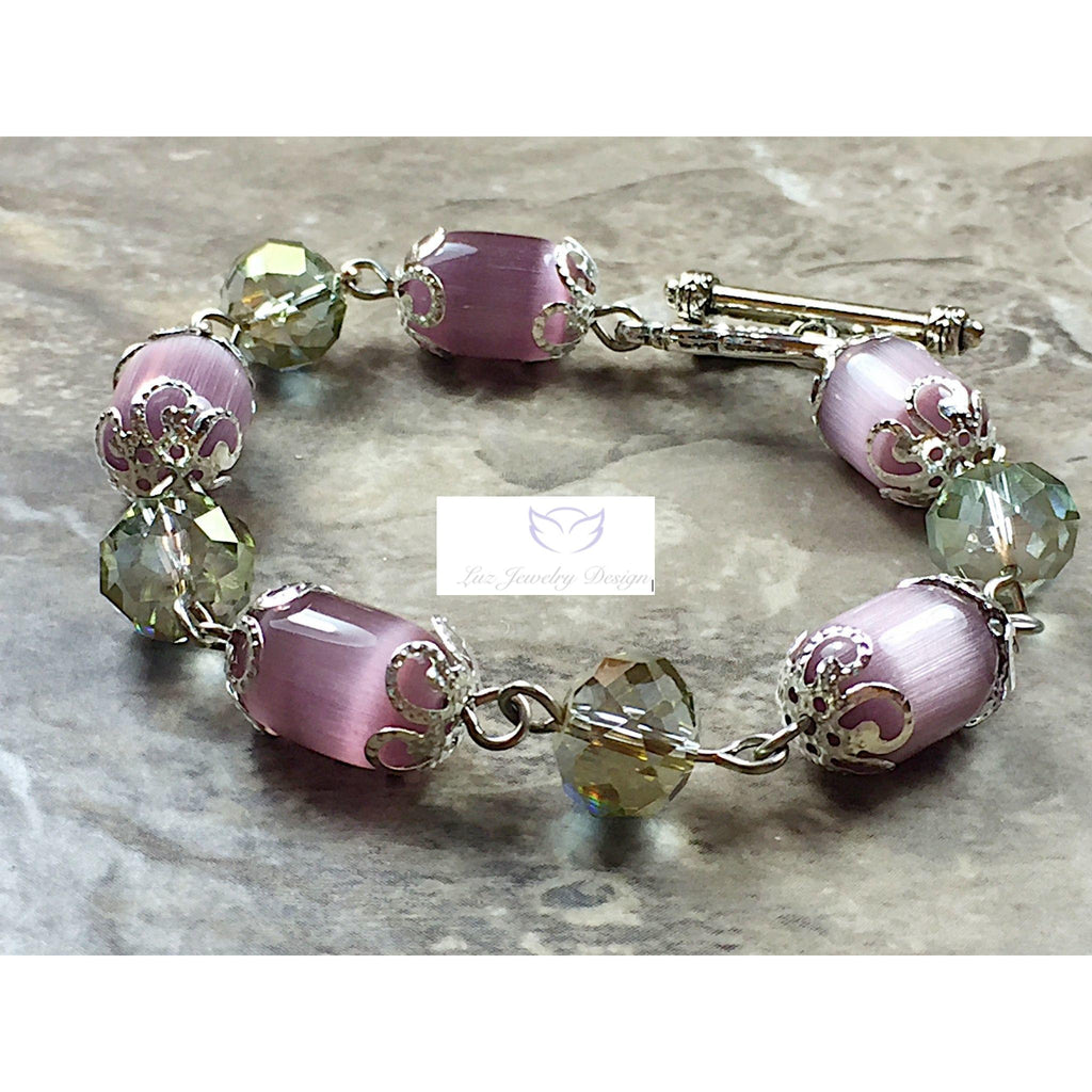 Purple cat eye bracelet, - Luzjewelrydesign   - 1
