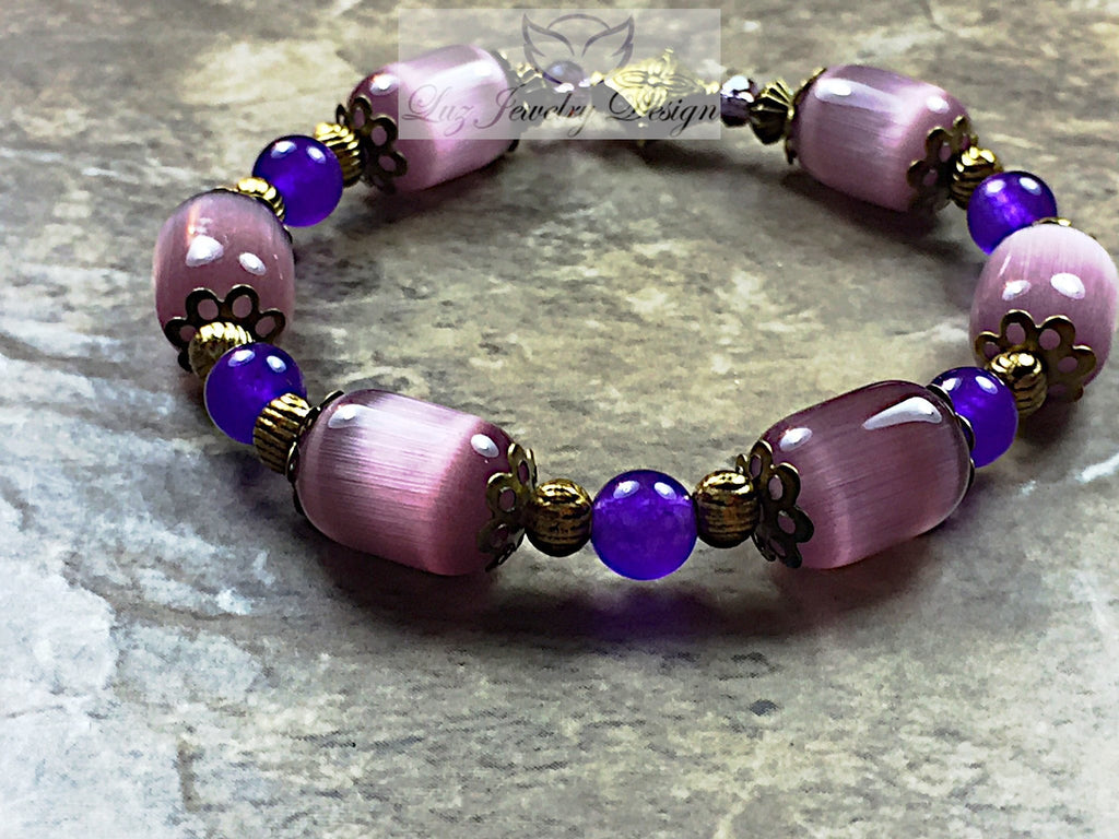 Purple and brass stretching bracelet - Luzjewelrydesign