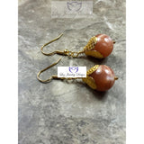 Brown moonstone earrings - Luzjewelrydesign   - 2