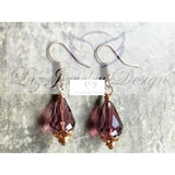 Gold rose purple teardrop earrings - Luzjewelrydesign   - 3