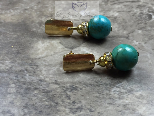 Turquoise gold plated earrings, turquoise earrings studs - Luzjewelrydesign   - 2