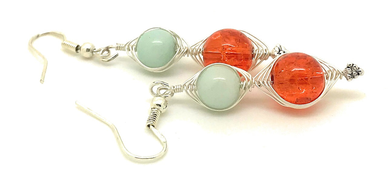 Orange and Light Blue Wire Wrapping Earrings - handcrafted Jewelry Luzjewelrydesign