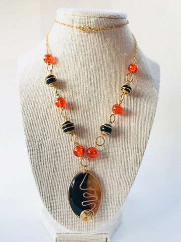 Orange and Black Agate Necklace