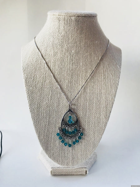 Aquamarine Swarovski silver necklace - Luzjewelrydesign