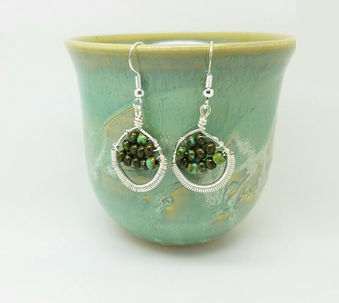 Silver and green earrings - coil silver earrings
