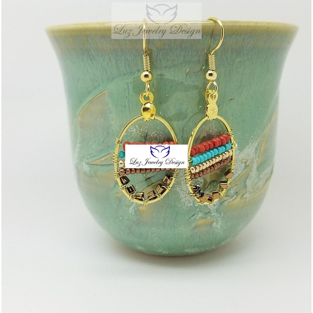 Multicolor gold earrings - wire wrapping earrings - Luzjewelrydesign   - 1