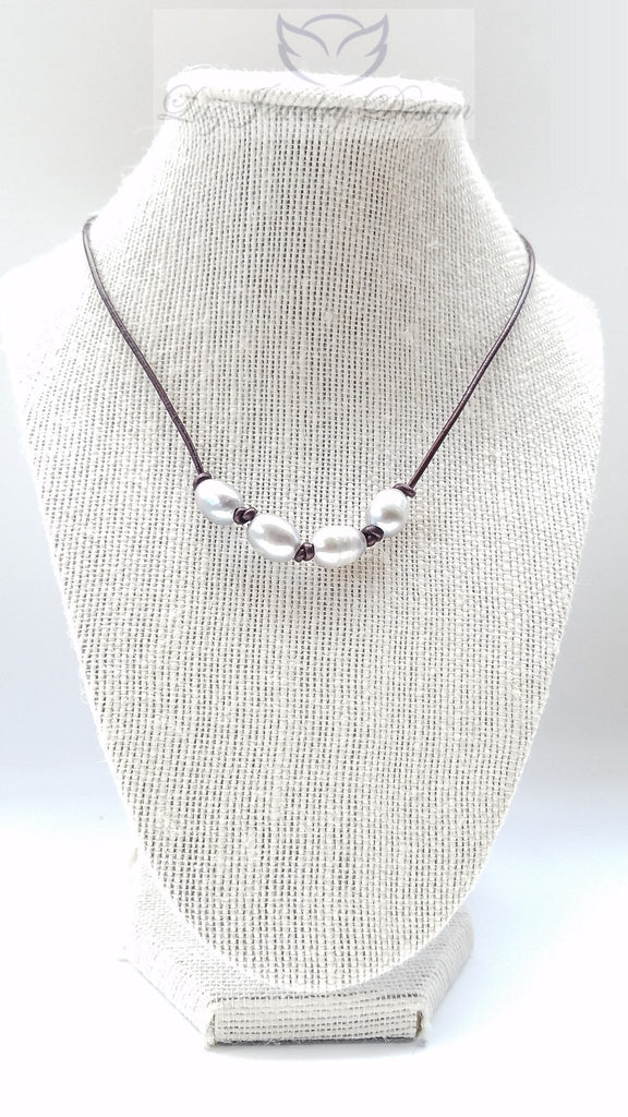 Grey mother pearl brown leather necklace - Luzjewelrydesign   - 1