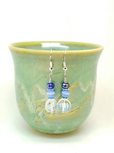 Blue crystal earrings - handcrafted Jewelry Luzjewelrydesign