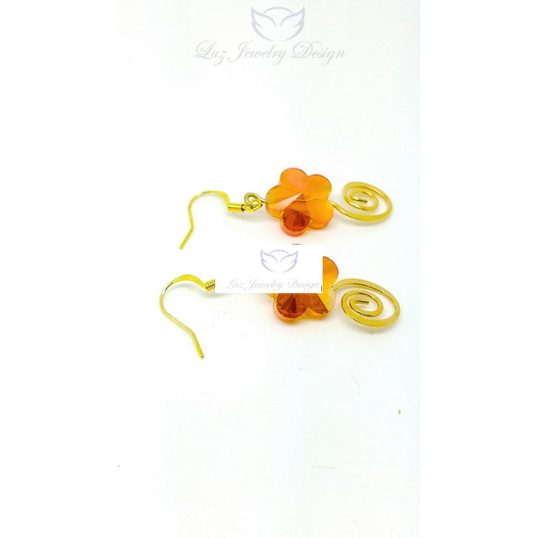 Orange flower earrings - handcrafted Jewelry Luzjewelrydesign