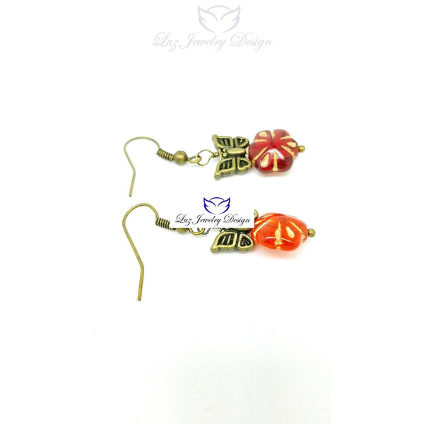 Red flower and butterfly earrings - Luzjewelrydesign   - 2