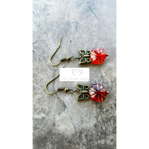 Red flower and butterfly earrings - Luzjewelrydesign   - 3