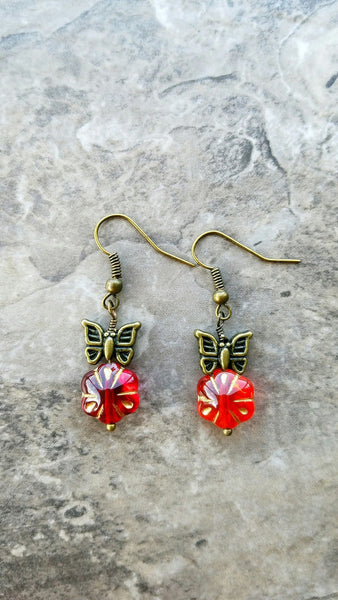 Red flower and butterfly earrings - Luzjewelrydesign   - 4