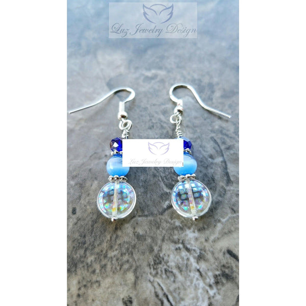 Blue crystal earrings - Luzjewelrydesign   - 5