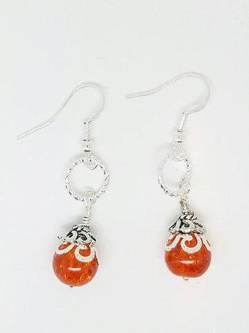 Orange silver earrings
