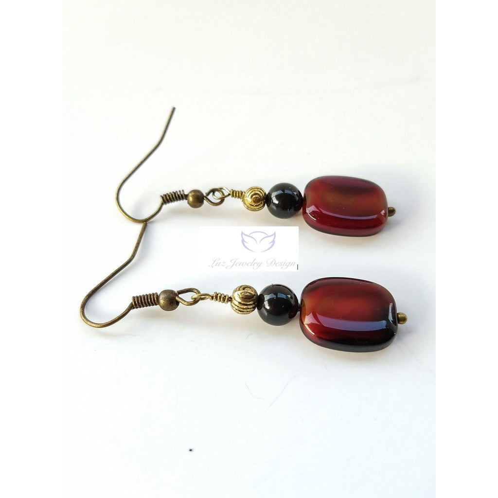 Red and black earrings - Luzjewelrydesign   - 1