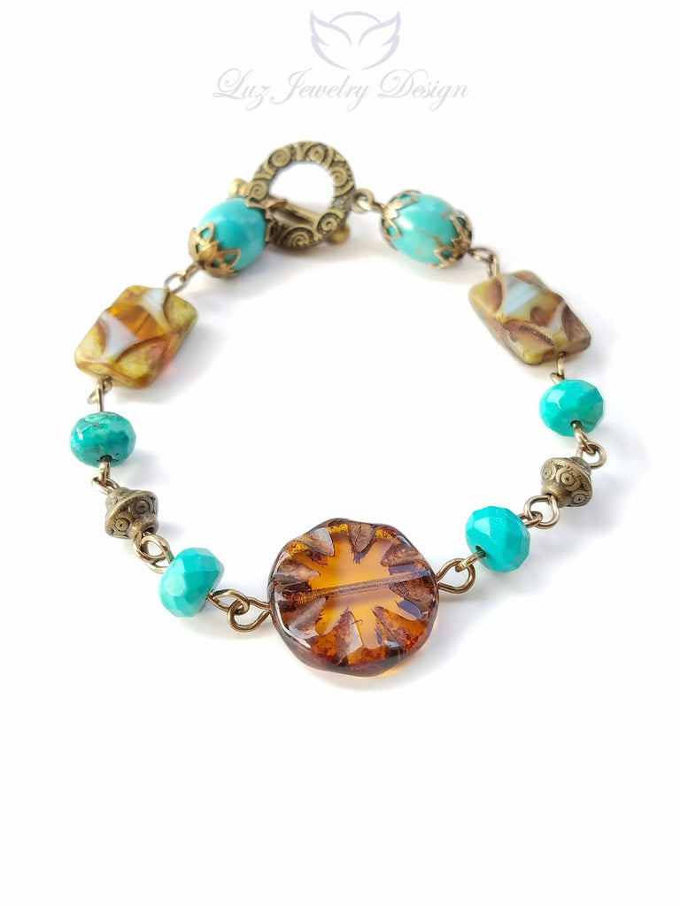 Brown brass turquoise bracelet - Luzjewelrydesign   - 1