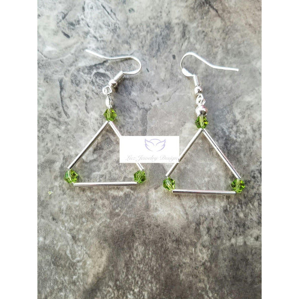 Green Swarovski triangle earrings - Luzjewelrydesign   - 2