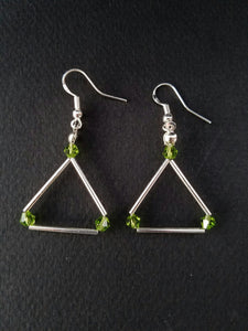 Green Swarovski triangle earrings - handcrafted Jewelry Luzjewelrydesign
