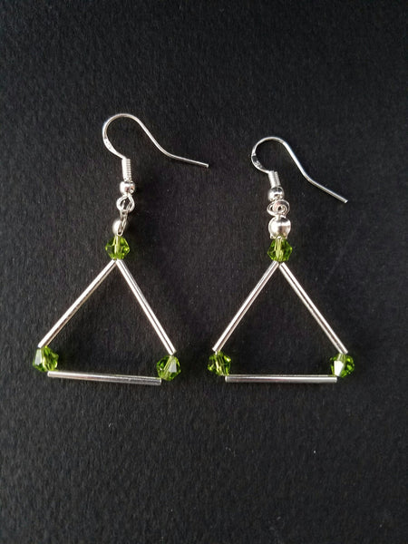 Green Swarovski triangle earrings - Luzjewelrydesign   - 3