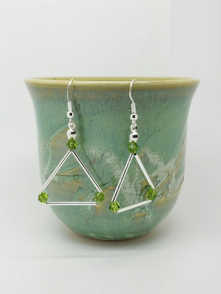 Green Swarovski triangle earrings - Luzjewelrydesign   - 4