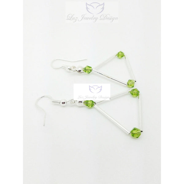 Green Swarovski triangle earrings - Luzjewelrydesign   - 5