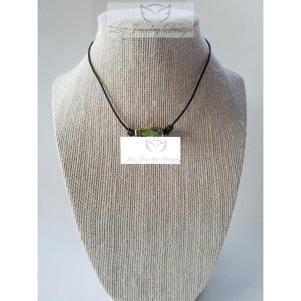 Green leather choker - Luzjewelrydesign   - 1