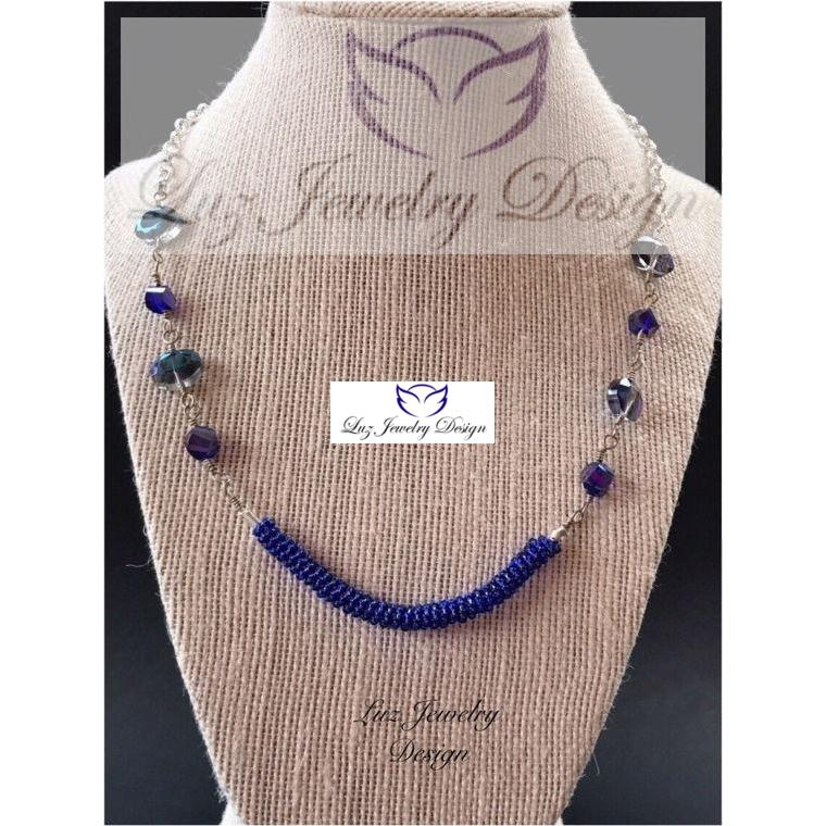 Dark blue Necklace - Blue cobalt necklace