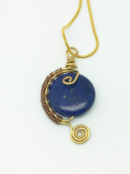 Lapis lazuli gold wire wrapping necklace, wire wrapping lapis lazuli, lapis lazuli necklace, blue gold gemstone wire wrapping