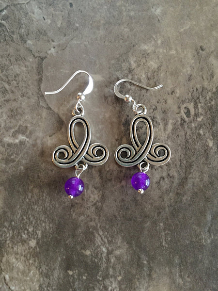 Silver purple earrings drop purple, drop lilac earrings, dark purple drop, purple drop earring