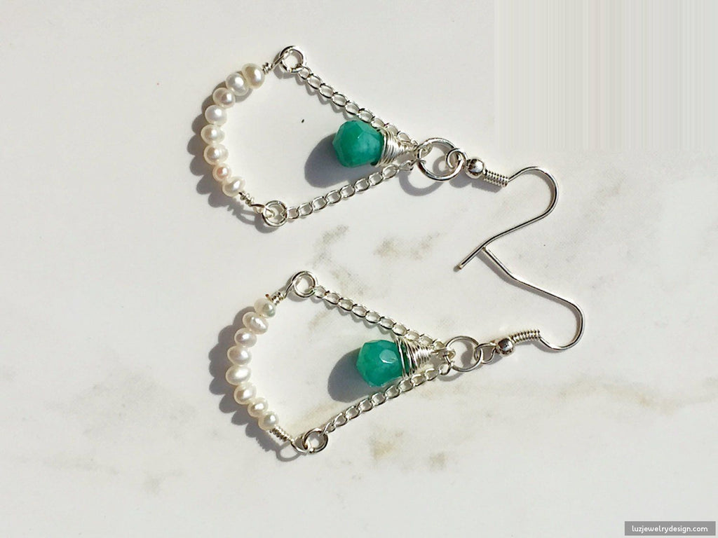 Aquamarine White Pearl Earrings,