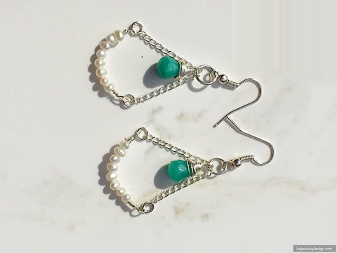 Aquamarine White Pearl Earrings, - Luzjewelrydesign