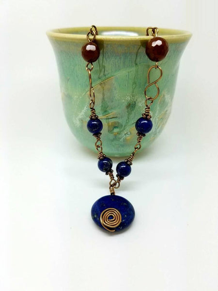 Lapis lazuli wire wrapping ruby agate brass necklace, lapis lazuli necklace, wire wrapping ruby agate lapis lazuli necklace, brass la
