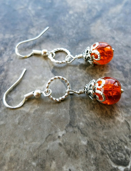 NO Orange silver earrings, tangerine earrings, orange drops, orange stud earrings, silver and orange, Pumpkin Orange Earrings, Autumn Fashio