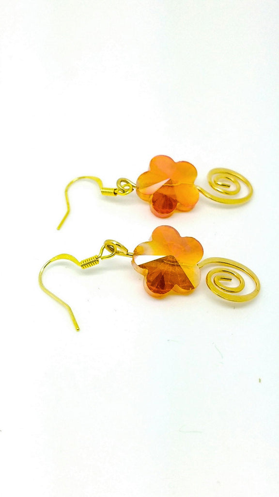 NO Orange flower earrings, orange jewelry, autumn earrings, Tangerine Earrings, tangerine orange jewelry, orange flower jewelry