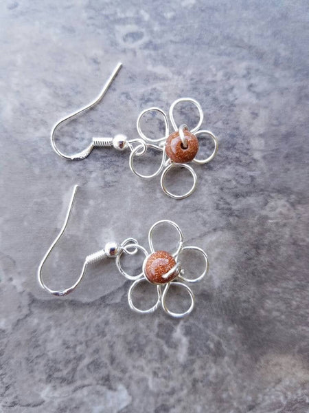 Flower earrings wire, floral stud earrings, silver wire earrings, wire wrapping earrings, silver flower drop, flower earrings