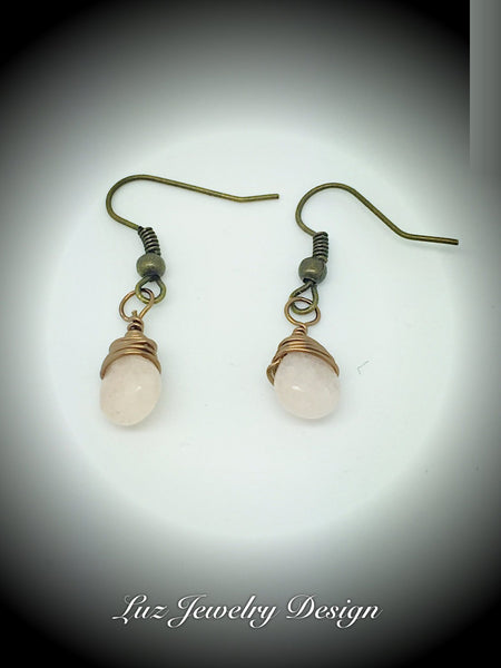 Pink jade wire wrapping earrings, pink tear wire wrapping earrings, jade pink tear drop earrings, brass wire wrapping earrings