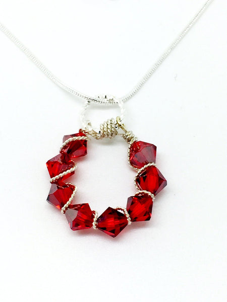 Red wire wrapping silver necklace, Red Swarovski wire wrapping, silver wire wrapping red Swarovski crystals