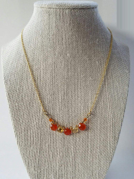 Carnelian citrine necklace//orange necklace gold//bohochic necklace//citrine necklace//citrine necklace//Yellow Citrin Quartz necklace