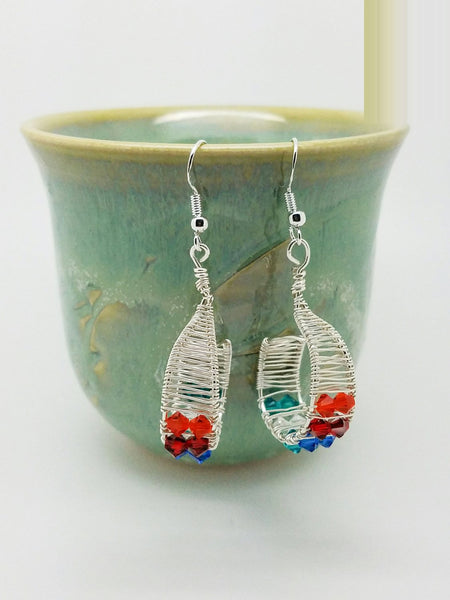 Wire wrapped earrings, Silver Wire Weave Dangle Earrings, Swarovski earrings, silver wire earrings, multi color wrap dangle,