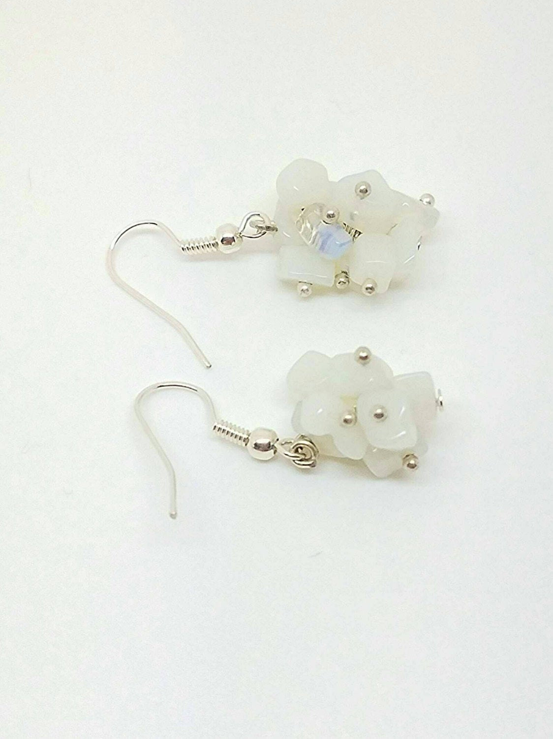 Clear white earrings, white earrings, white earring, white accessories, white bride earrings, dangly white earring, earrings white,