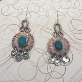 Copper and Turquoise Dangle Earrings - handcrafted Jewelry Luzjewelrydesign