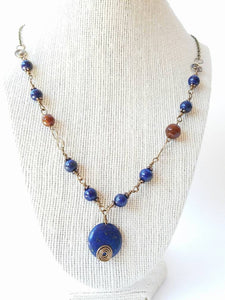 Lapis lazuli wire wrapping ruby agate brass necklace, lapis lazuli necklace, wire wrapping ruby agate lapis lazuli necklace, brass la - Luzjewelrydesign