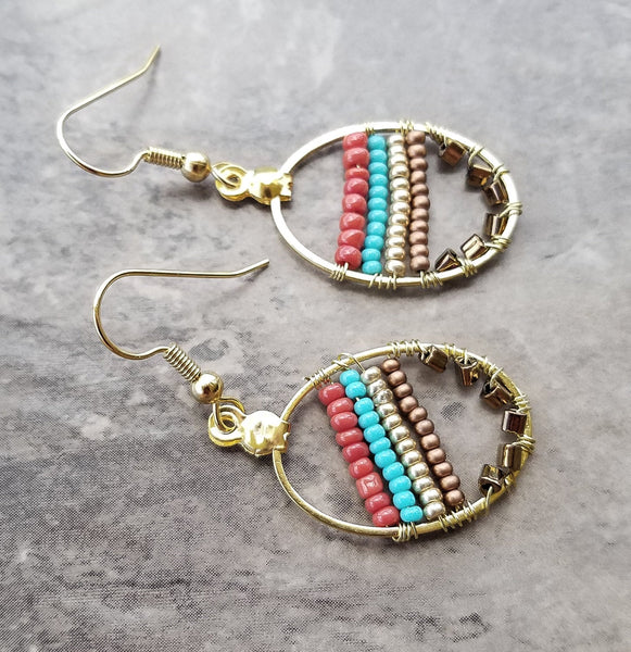 Multicolor earrings, boho bohenmia earrings,  gypsy multicolor earrings, colorful earrings, multicolor seed beads earrings