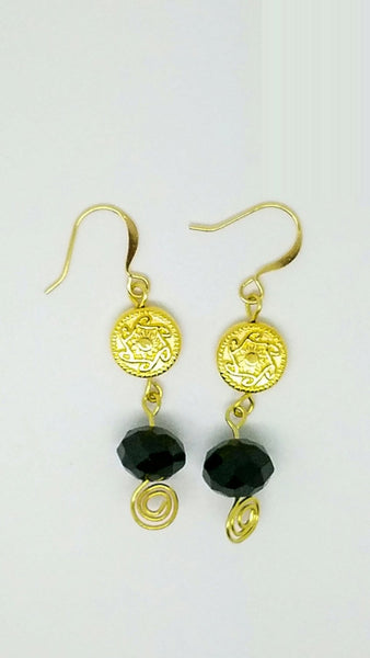 Black gold earrings, black gold jewelry, black drop earrings, earrings black gold