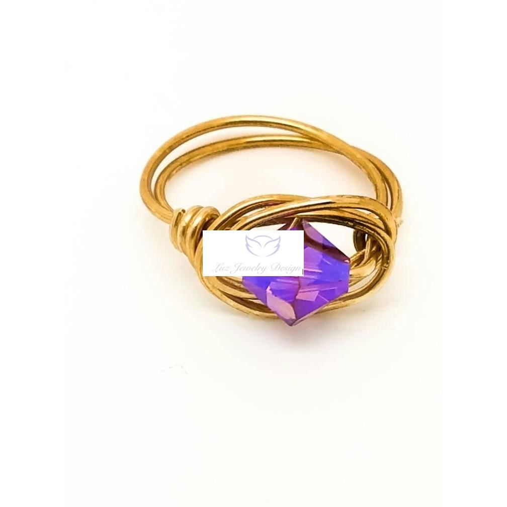 Swarovski Crystal purple Ring Wire Wrapped Gold Purple Ring Swarovski Crystal Jewelry Gold Wire Ring purple wire wrapping ring