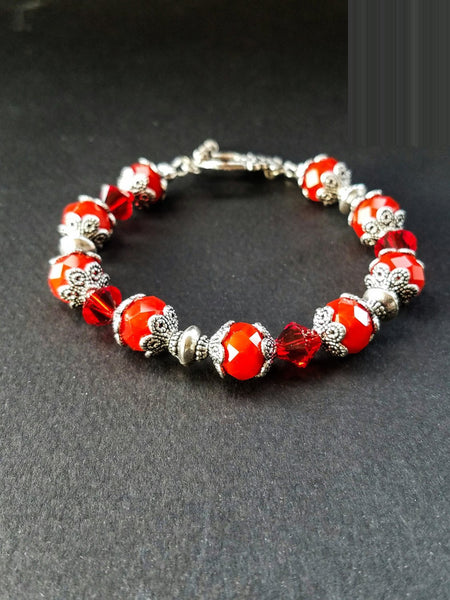 Dark red bracelet, Red jewelry, red beaded bracelet, Handmade red bracelet, Red beads bracelet, Unique, bright red bracelet