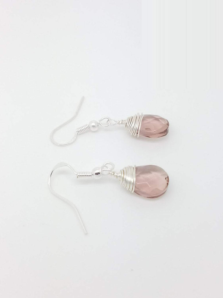 Pink quartz earrings wire wrapping pink quartz earrings sterling silver pin quartz wire wrapping earrings pink earrings