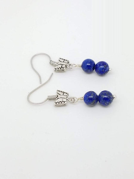 Lapis Lazuli Earrings -Lapis Lazuli Earrings Sterling-Blue Lapis Lazuli Earrings-Blue gemstone earrings-Lapis Earrings- butterfly