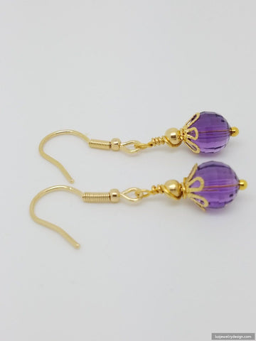 Amethyst 18k Gold Plated February Lavender Birthstone Earrings - Luzjewelrydesign